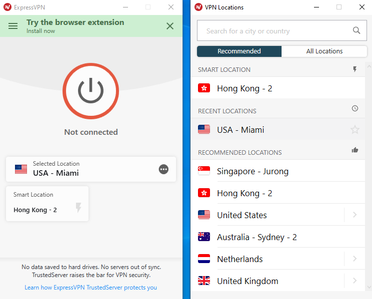 expressvpn dashboard all locations