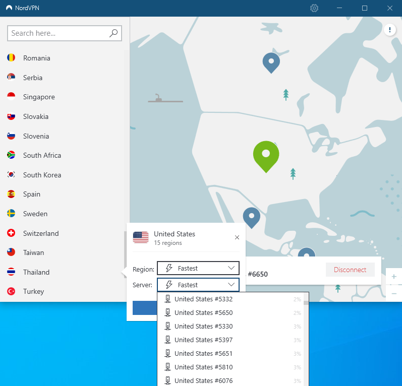 nordvpn country selection