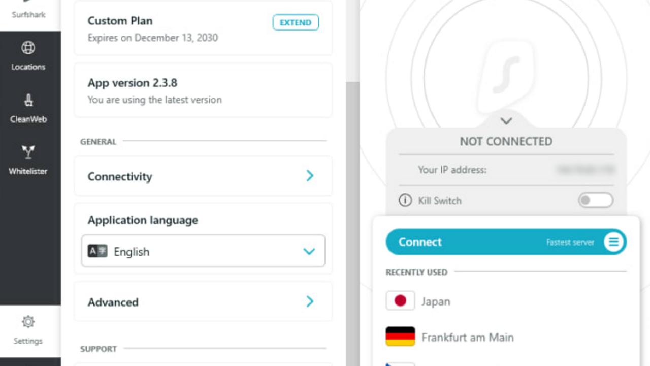 Surfshark user interface