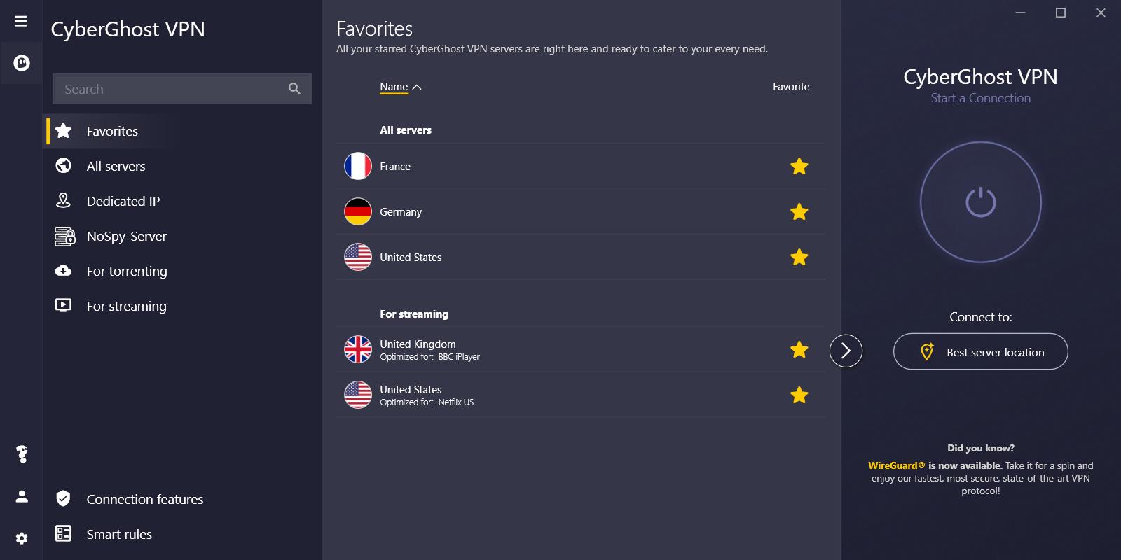 Cyberghost screenshot showing list of favorite servers