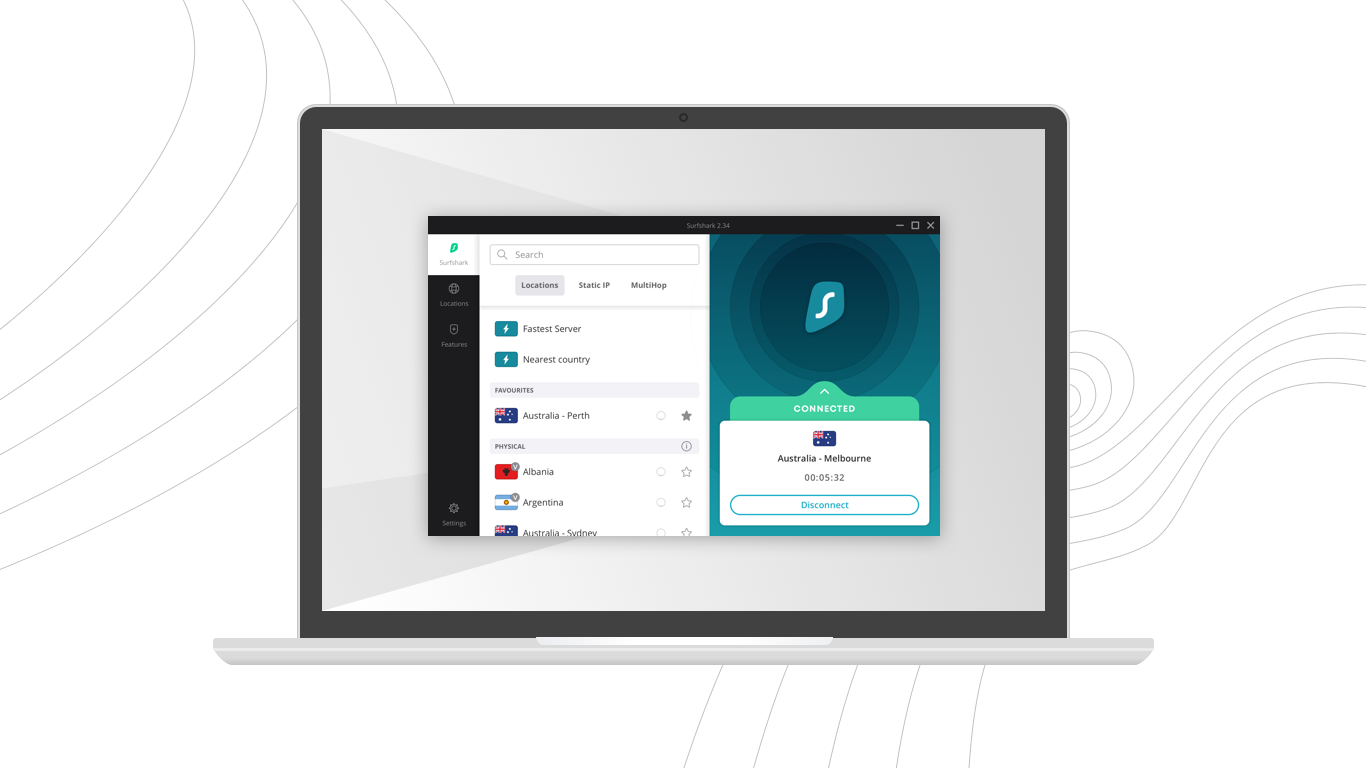 screenshot of Surfshark windows app