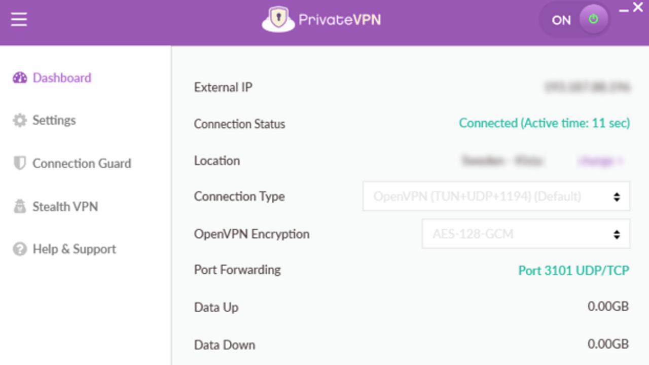 PrivateVPN user interface