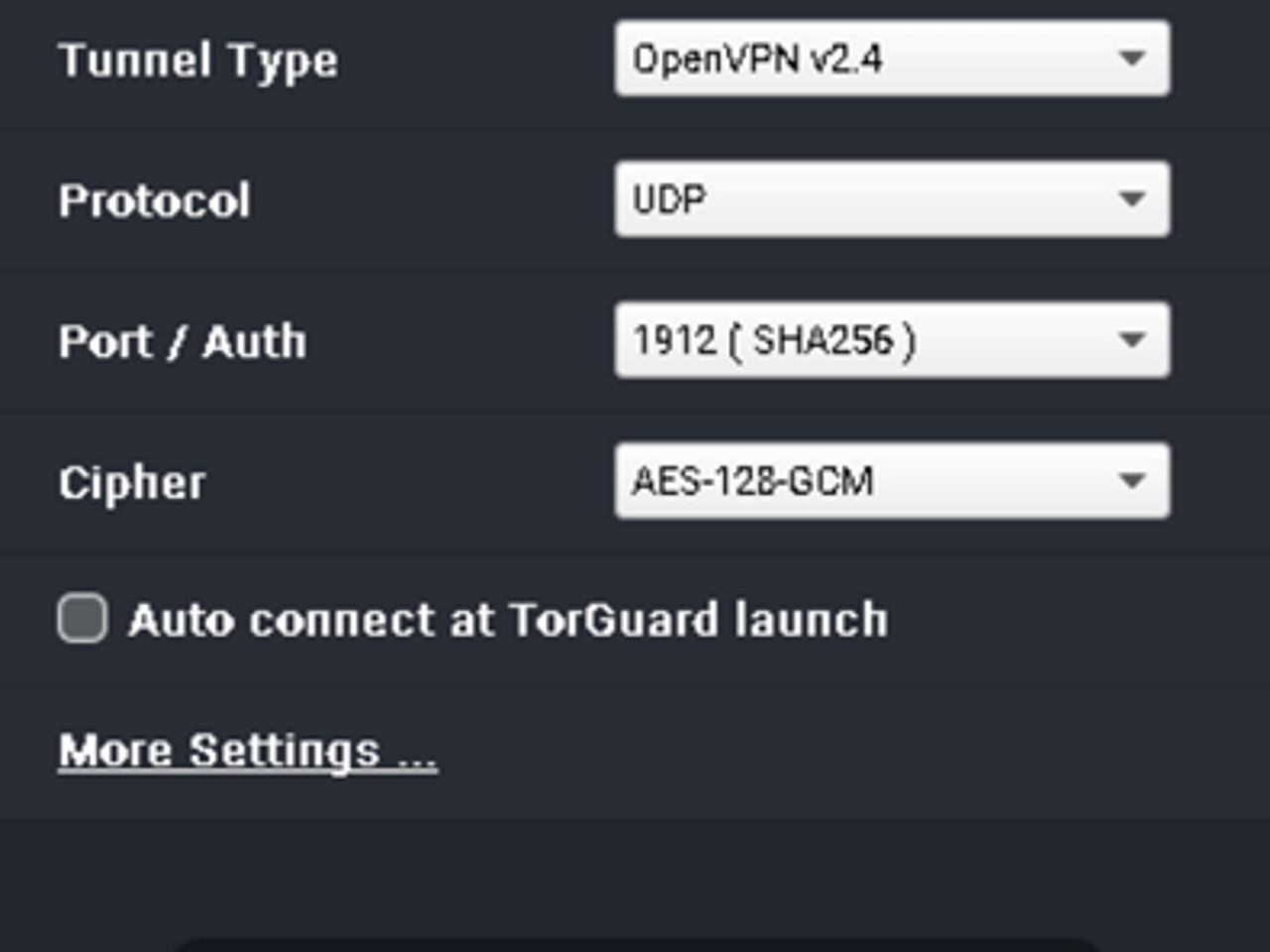 TorGuard user interface