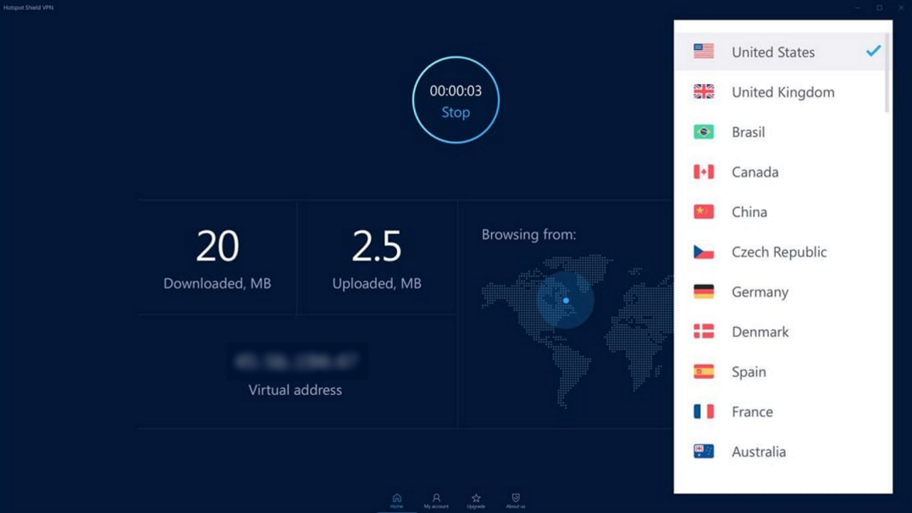 Hotspot Shield's main statistics screen