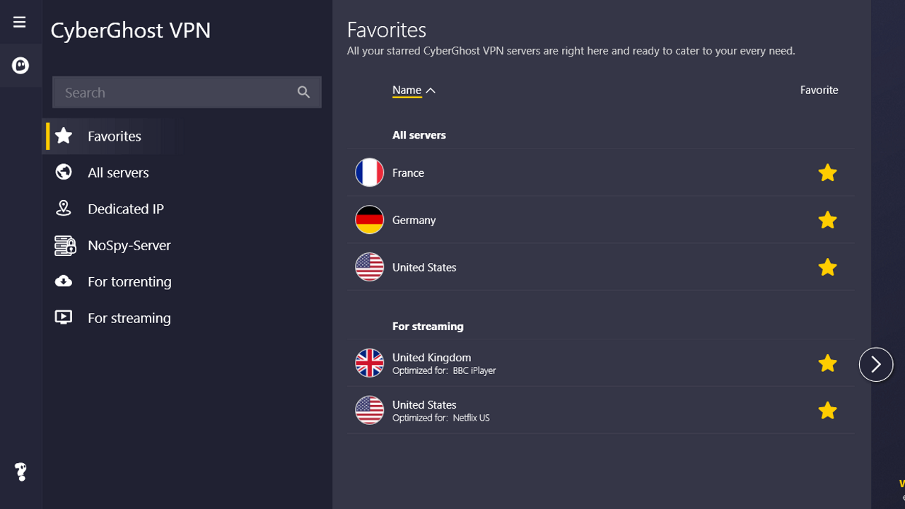 """CyberGhost's """"Favorites"""" tab, which saves your preferred settings"""