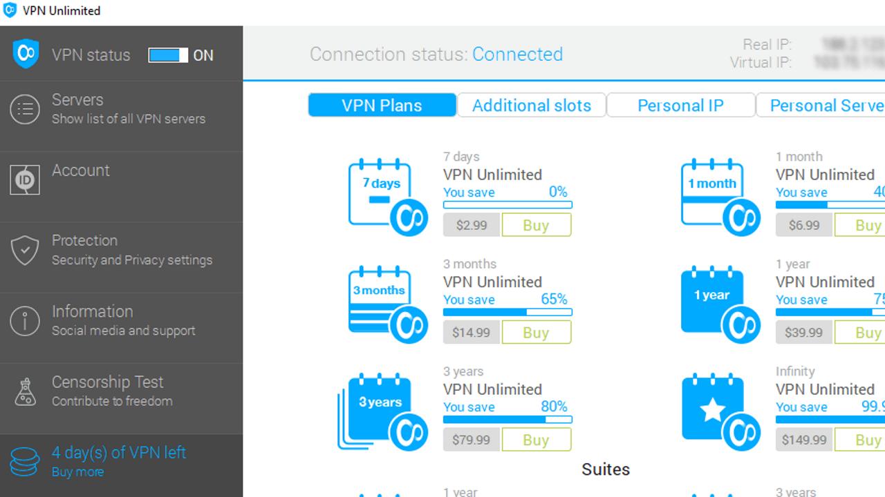 VPN Unlimited user interface