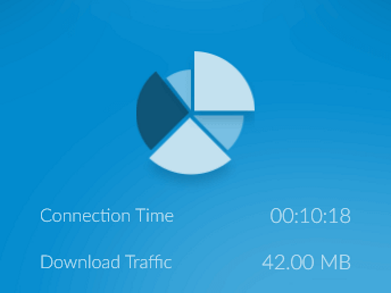 ZenMate's connection and traffic monitoring statistics