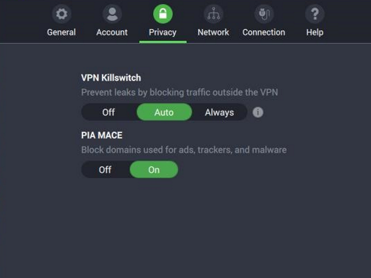 Private Internet Access screenshot of privacy settings