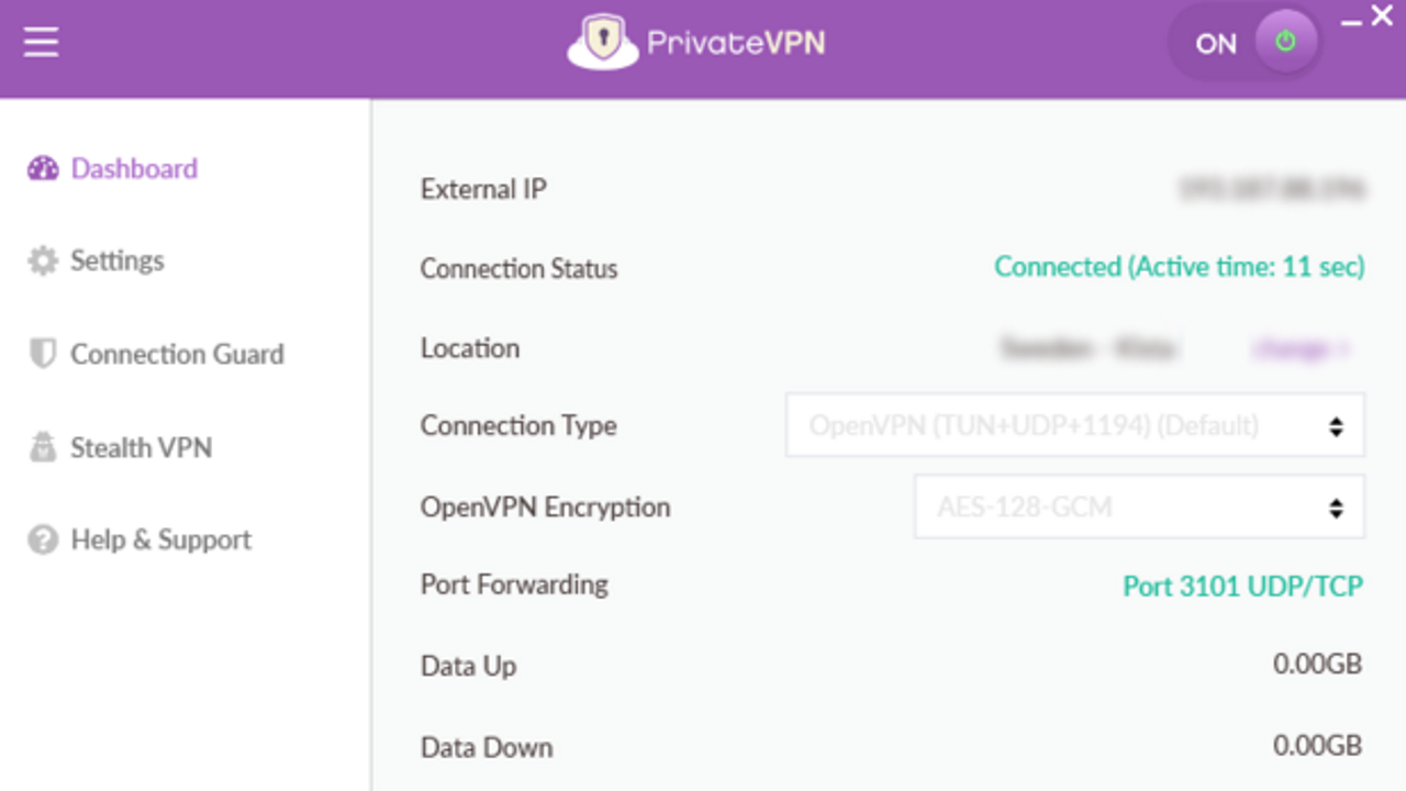 Screenshot of Private VPN's Windows dashboard showing various options